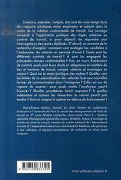 Contrat de travail ; conclure, exécuter, rompre - 4ème de couverture - Format classique
