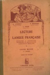 LECTURE ET LANGUE FRANCAISE. COURS MOYEN (1er DEGRE). LIVRE DU MAÎTRE. - Couverture - Format classique