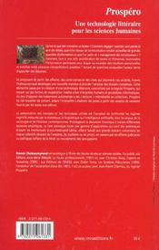 Prospero - 4ème de couverture - Format classique