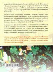 Dictionnaire D'Histoire Et De Geographie Terminale 2e Edition - 4ème de couverture - Format classique