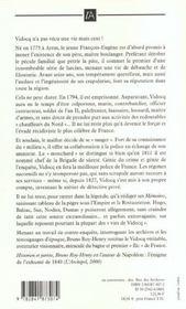 Vidocq, Du Bagne A La Prefecture - 4ème de couverture - Format classique