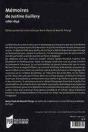 Memoires De Justine Guillery (1789 1846) - 4ème de couverture - Format classique