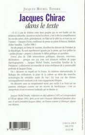 Jacques chirac dans le texte - 4ème de couverture - Format classique