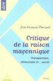 Critique De La Raison Maconnique - Intérieur - Format classique