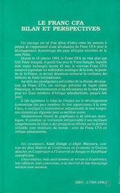 Le franc CFA ; bilan et perspectives - 4ème de couverture - Format classique