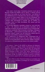L'Union Matrimoniale Dans La Tradition Des Peuples Noirs - 4ème de couverture - Format classique