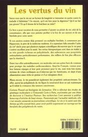 Tout Savoir Sur Les Vertus Du Vin - 4ème de couverture - Format classique