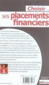 Choisir ses placements financiers - 4ème de couverture - Format classique