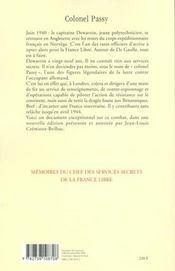 Mémoires du chef des services secrets de la France libre - 4ème de couverture - Format classique