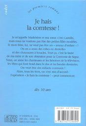 Je hais la comtesse - 4ème de couverture - Format classique
