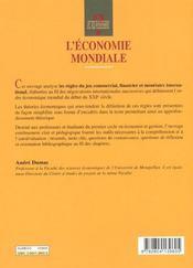 L'économie mondiale ; commerce, monnaie, finance - 4ème de couverture - Format classique