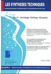 Sociologie-politique-économie (les synthèses techniques du service national d'information sur d'eau) - Intérieur - Format classique