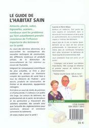 Le Guide De L'Habitat Sain - 4ème de couverture - Format classique