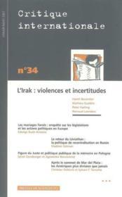 Revue Critique Internationale N.34 - Couverture - Format classique