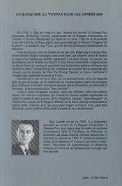Un Banquier Au Yunnan Dans Les Annees 1930 - 4ème de couverture - Format classique