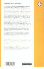 Anatomie De La Separation - 4ème de couverture - Format classique
