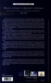 Voyager en Europe, de Humboldt à Stendhal - 4ème de couverture - Format classique