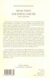 Vox Populi, Vox Dei - 4ème de couverture - Format classique