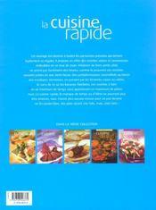 La cuisine rapide - 4ème de couverture - Format classique