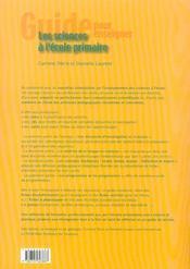 Les sciences à l'école primaire ; biologie, géologie - 4ème de couverture - Format classique