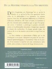 De La Matiere Vivante A La Vie Brevetee No32 - 4ème de couverture - Format classique