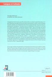 Diversités culturelles et apprentissage du français ; approche interculturelle et problématiques linguistiques - 4ème de couverture - Format classique