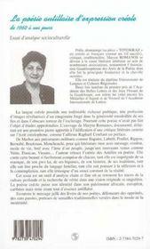 La poésie antillaise d'expression créole de 1960 à nos jours - 4ème de couverture - Format classique