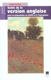Guide de la version anglaise pour la preparation au capes et a l agregation - Intérieur - Format classique