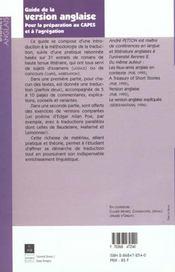 Guide de la version anglaise pour la preparation au capes et a l agregation - 4ème de couverture - Format classique