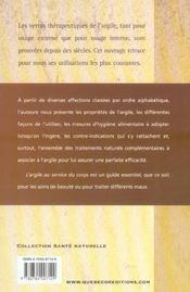 L'Argile Au Service Du Corps - 4ème de couverture - Format classique