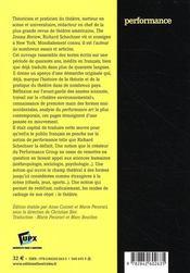 Performance ; expérimentation et théorie du théâtre aux USA - 4ème de couverture - Format classique