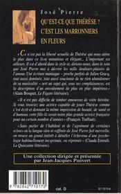 Qu'est-ce que therese? : c'est les marronniers en fleurs - 4ème de couverture - Format classique