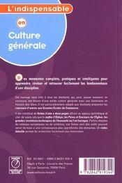 Culture generale - 4ème de couverture - Format classique