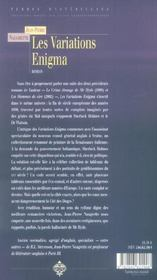 Les variations enigma - 4ème de couverture - Format classique