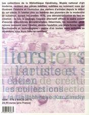 Atelier : L'Artiste Et Ses Lieux De Creation Dans Les Collections De La Bibliotheque Kandinsky - 4ème de couverture - Format classique