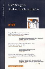 Revue Critique Internationale N.37 ; La Gauche Italienne Face Au Mouvement Pour Les Libertés Civiles Des Sans-Papiers - Intérieur - Format classique