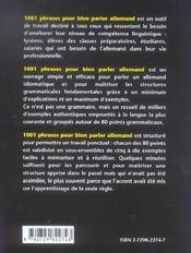 1001 Phrases Pour Bien Parler Allemand Un Peu De Grammaire Beaucoup D'Exemples - 4ème de couverture - Format classique