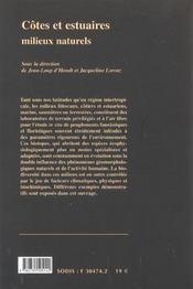 Cotes Et Estuaires ; Milieux Naturels - 4ème de couverture - Format classique