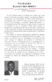 N'garagba, la maison des morts ; un prisonnier sous Bokassa - 4ème de couverture - Format classique