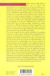 Robert Musil ; l'homme probable, le hasard, la moyenne et l'escargot de l'histoire - 4ème de couverture - Format classique