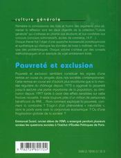 Pauvrete Et Exclusion Les Faits Les Arguments Un Sujet Corrige - 4ème de couverture - Format classique