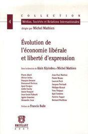 Évolution de l'économie libérale et liberté d'expression - Couverture - Format classique