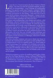 Ernst Junger ; Autorite Et Domination - 4ème de couverture - Format classique