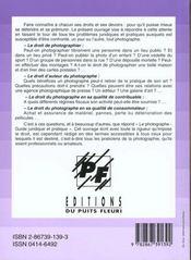 Le Photographe. Guide Juridique Et Pratique - 4ème de couverture - Format classique