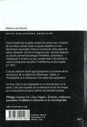 Goodis, La Vie En Noir Et Blanc - 4ème de couverture - Format classique