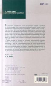 Revue Societes Contemporaines N.66 ; Le Travail Dans Les Institutions Culturelles - 4ème de couverture - Format classique