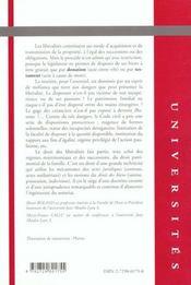Droit Des Liberalites - 4ème de couverture - Format classique