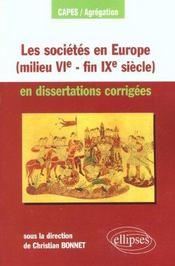 Les Societes En Europe (Milieu Vie-Fin Ixe Siecle) - Intérieur - Format classique
