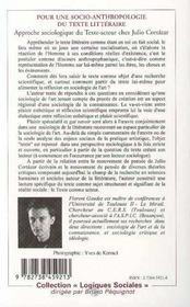 Pour Une Socio-Anthropologie Du Texte Litteraire - 4ème de couverture - Format classique