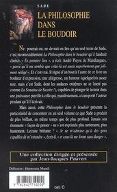 La philosophie dans le boudoir - 4ème de couverture - Format classique